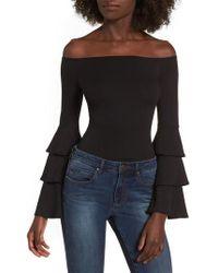 Soprano Ruffle Sleeve Off The Shoulder Bodysuit - Black