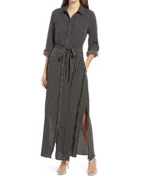1901 Tie Waist Long Sleeve Maxi Shirtdress - Black