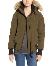 Canada Goose - 'savona' Bomber Jacket With Genuine Coyote Fur Trim - Lyst