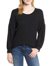 Bobeau - Blouson Sleeve Fleece Knit Top - Lyst