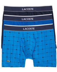 Lacoste - Signature 3-pack Boxer Briefs, Blue - Lyst