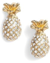 Kate Spade - By The Pool Pave Pineapple Stud Earrings - Lyst