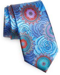 Ermenegildo Zegna Quindici Floral Silk Tie - Blue