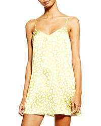 f9193175b56d TOPSHOP Red And Pink Spot Slip Dress in Pink - Lyst