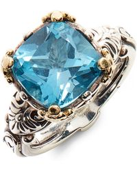 Konstantino Hermione Two-tone Square Stone Ring - Blue