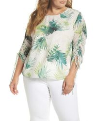 Vince Camuto - Drawstring Sleeve Sunlit Palm Print Top - Lyst