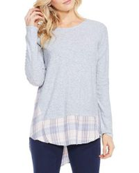 Two By Vince Camuto Mixed Media Plaid Top - Gray