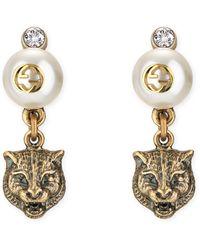 Feline Head Faux Pearl Earrings , Metallic