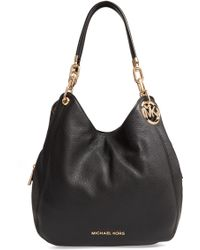 MICHAEL Michael Kors Lillie Large Pebbled Leather Shoulder Bag - Black