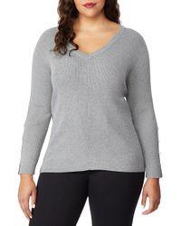 REBEL WILSON X ANGELS Beaded Sleeve Sweater - Gray