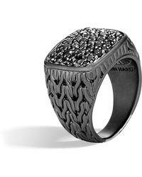John Hardy - Black Rhodium Signet Ring - Lyst