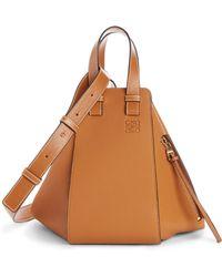 Loewe Small Hammock Leather Hobo Bag - Brown
