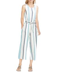 Vince Camuto - Stripe Belted Jumpsuit - Lyst