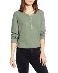 Stateside Thermal Henley Top - Green