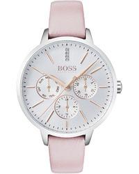 BOSS - Symphony Leather Strap Watch - Lyst