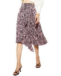 TOPSHOP Tall Tayloranimal Pleat Midi Skirt - Pink