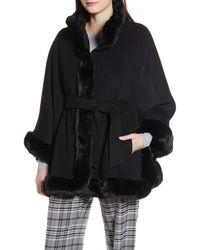 Ellen Tracy Wool Blend Cape Coat With Faux Fur Trim - Black