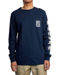 RVCA Send Noodles Long Sleeve Graphic Tee - Blue
