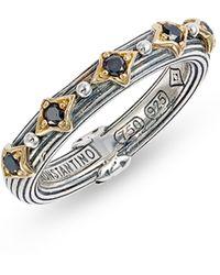 Konstantino - Delos Band Ring With Black Diamonds - Lyst