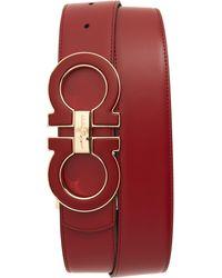 Ferragamo Men's Oversized Reversible Gancini Belt - Red