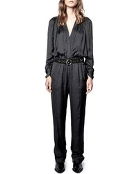 Zadig & Voltaire Captain Belted Satin Long Sleeve Jumpsuit - Black