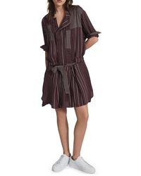 Reiss Albi Drop Waist Belted Long Sleeve Shirtdress - Multicolour