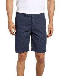 Ted Baker Slim Fit Geo Print Shorts - Blue