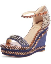 72622e9570b8 Lyst - Christian Louboutin Janitag Espadrille Wedge Sandals in Metallic