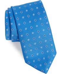 David Donahue Medallion Silk X-long Tie - Blue