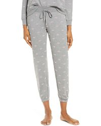 Pj Salvage Lip Print Jogger Pyjama Pants - Gray