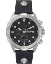 Versus Arrondissement Chronograph Leather Strap Watch - Metallic