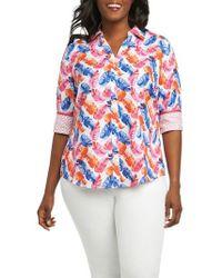 Foxcroft - Mary Layered Palms Wrinkle Free Shirt - Lyst