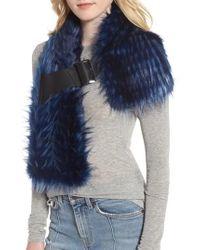 Heurueh - Buckled Faux Fur Scarf - Lyst