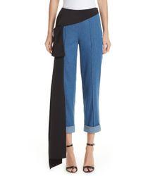 Hellessy Romeo Silk Panel Crop Jeans - Blue
