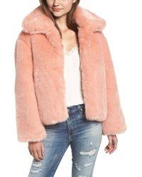 Pam & Gela - Boxy Faux Fur Coat In Pink - Lyst