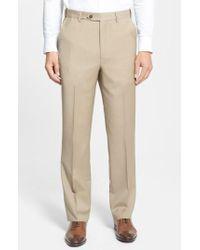 Berle   Self Sizer Waist Flat Front Wool Trousers   Lyst