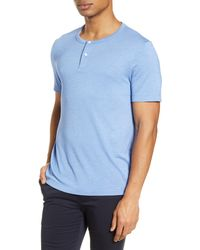 Theory Gaskell Slim Fit Short Sleeve Henley - Blue