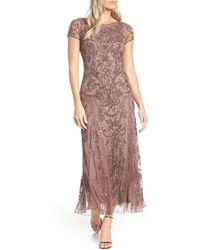 Pisarro Nights Embellished Mesh Gown - Purple