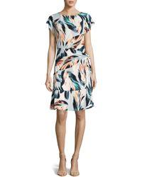 Eci - Side Tie Print Dress - Lyst