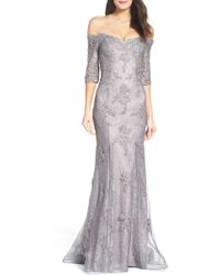 La Femme - Fit & Flare Gown With Train - Lyst
