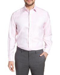 David Donahue Regular Fit Solid Dress Shirt - Pink