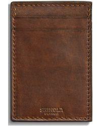 Shinola Navigator Leather Money Clip Card Case - Brown