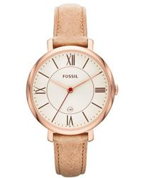 Fossil - 'jacqueline' Round Leather Strap Watch - Lyst