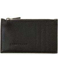 Longchamp Le Foulonné Leather Card Case - Black