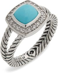 David Yurman Petite Albion Ring With Turquoise And Diamonds - Metallic
