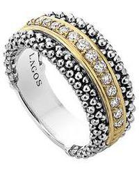 Lagos | Diamonds & Caviar Ring | Lyst