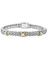 Lagos - 'signature Caviar' Two-tone Mini Oval Rope Bracelet - Lyst