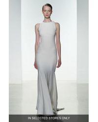Amsale - 'brody' Embellished Back Crepe Mermaid Gown - Lyst