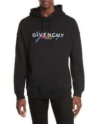 Givenchy Embroidered Logo Print Cotton Hooded Sweatshirt - Black