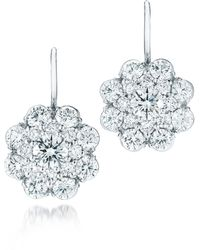 Kwiat - Diamond Cluster Platinum Drop Earrings - Lyst